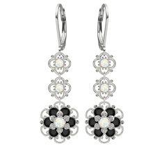 Lucia Costin Silver White Black Austrian Earrings