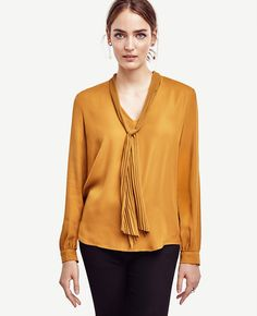 Pleated Tie Neck Blouse | Ann Taylor