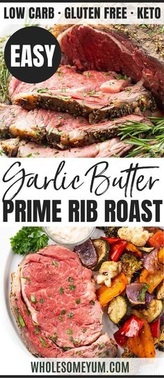 Perfect Garlic Butter Prime Rib Recipe - The ultimate guide to perfect prime rib roast! Includes how to cook prime rib (with cooking time per pound chart), my delicious garlic butter prime rib recipe, how much to serve, and more. Low Carb Dinner Recipes, Rib Recipes, Roast Recipes, Cooking Recipes, Cooking Time, Cooking Gadgets, Skillet Recipes, Cooking Videos, Cooking Tools