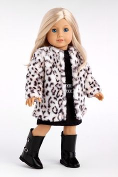 Glamour Girl - Snow Leopard Faux Fur Coat with Black Velvet Dress (boots not included) - 18 Inch American Girl Doll Clothes Price : $28.97 http://www.dreamworldcollections.com/Glamour-Girl-Leopard-included-American/dp/B00FURBTFI