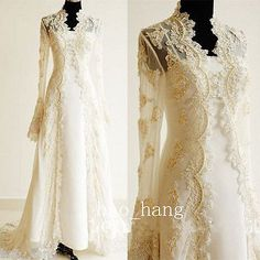 Vintage Gold Champagne Wedding JacketsLong Lace Full Sleeves Bridal Wraps Cape