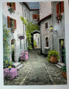 Watercolor Landscape, Landscape Paintings, Watercolor Paintings, Street Painting, House Painting, Nature Pictures, Art Pictures, Mode Poster, Texture Painting On Canvas
