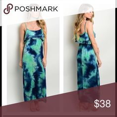 Beautiful tie dye dresses!! These are NWOT blue and green tie dye maxi dresses with straps and a ruffle around the top. These are beautiful dresses!!. I have 1 small, 1 medium and 1 large. 95% rayon 5% spandex Dresses Maxi