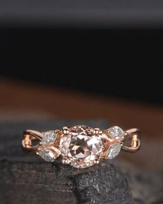 Rose Gold Morganite Engagement Ring Marquise Moissanite Infinity Split Shank Unique Leaf Antique Women Curved Promise Anniversary Gift Ring