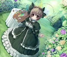 ✮ ANIME ART ✮ lolita fashion. . .long dress. . .lace. . .ruffles. . .hair bows. . .paint palette. . .paintbrush. . .painting flowers. . .roses. . .fantasy. . .cute. . .kawaii
