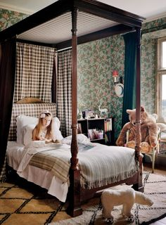 Plum Skyes English Country House Children's Bedroom Floral Wallpaper Plaid Canopy Bed Beni Ourain Rug