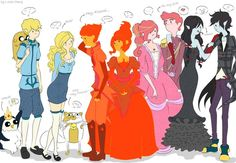 Gunther, Finn, Jake, Fionna, Cake, Flame Prince, Flame Princess, Bubblegum, Gumball, Marceline, and Marshall Lee