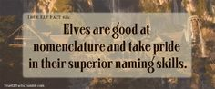 True Elf Facts (Yeah right…)<<<Actually, this one is the case.  Check Morgoth's Ring for more.