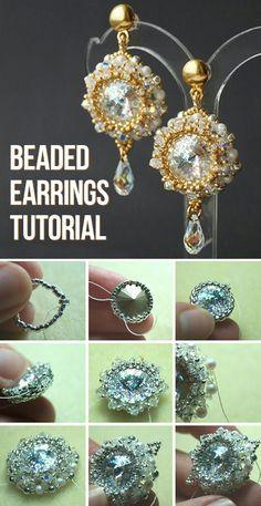 Bead weaved earrings tutorial / Плетем из бисера нарядные серьги с кристаллами