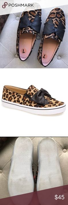 """NEW!! Kate Spade NY: delise leopard flats Brand new without box/tags Kate Spade NY delise leopard slip on sneakers.  Bow detail. Sticker inside says """"real dyed calf fur from Brazil."""" Retail for $198. Bundle items in my closet for a discount and to save on shipping! kate spade Shoes Flats & Loafers"""
