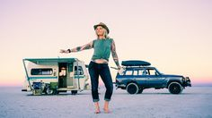 Professional skier Kalen Thorien has been living out of her 1993 Bigfoot trailer and 60-series Land Cruiser for two years.