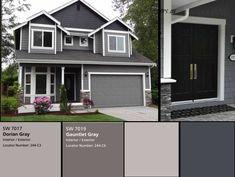 Novas cores de tinta cinza exterior para a casa verde ideias - HOUSE: EXTERIOR. Exterior Gray Paint, Stucco Exterior, Exterior Paint Colors For House, Paint Colors For Home, Modern Exterior, Grey Paint, Exterior Design, Gray Exterior Houses, Exterior Paint Schemes