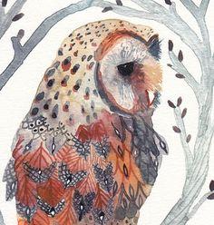 Barn Owl and Branches Archival Print by unitedthread on Etsy Art Et Illustration, Illustrations, Owl Bird, Bird Art, Art Fantaisiste, Owl Watercolor, Owl Quilts, Art Manga, Art Deco Posters