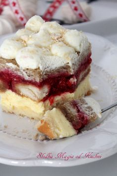Kostka advocatowa z malinami Sweets Cake, Cookie Desserts, Baking Recipes, Cake Recipes, French Tart, Cream Cheese Mints, Fruit Cobbler, French Desserts, Polish Recipes