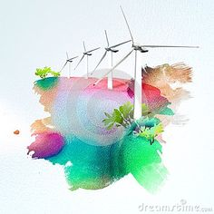 Wind turbines on watercolor background
