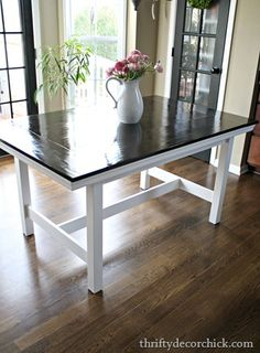 Make your own country kitchen table with a cheap ikea table this ikea table turned farmhouse table from thrifty decor chick watchthetrailerfo