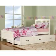 Elise Captain Twin Bed with Trundle, Soft White