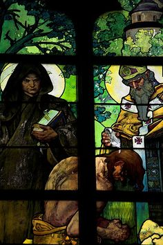 Stained glass window in St. Vitus Cathedral, Prague (detail) by Alphonse Mucha
