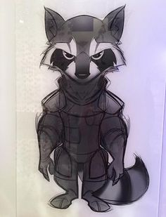 Really awesome sketch of Rocket Raccoon from 'Guardians of the Galaxy.'