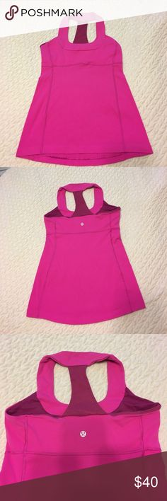 LULU LEMON My favorite style made by lulu Lemon. Hot pink athletic top, in good condition. Extremely comfortable top❤️ lululemon athletica Tops Muscle Tees