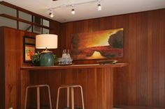 Our basement's wet bar layout. I'm debating again if we should keep ours. #mid-century #retro