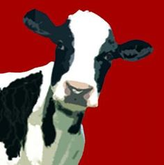 Retro Red Cow Modern Canvas Pop Art Painting Picture
