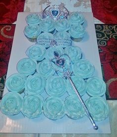 Elsa cupcake dress I made for my grandaughters 3rd birthday.