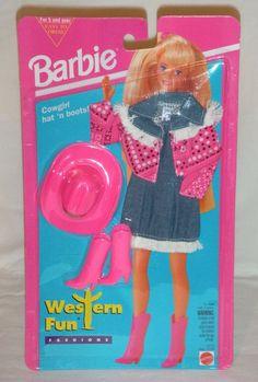 1994 Barbie Western Fun Fashions -  Cowgirl Hat 'n Boots Pink Cowboy Mattel