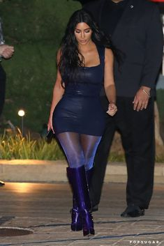 Would You Wear Kim's Glitter Tights and Iridescent Boots? Tights Outfit Winter, Black Tights Outfit, Tights And Boots, Sexy Boots, Pantyhose Outfits, In Pantyhose, Sparkly Tights, Khloe Kardashian Style, Metallic Mini Dresses