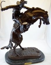 "Frederic Remington ""Bronco Buster"" Large Bronze Sculpture With Marble Base 