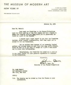 This is a great post on GOOD.  Rejection letters from Madonna to Andy Warhol and Sylvia Plath.