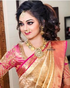 Beauty Pictures: May 2019 Bridal Silk Saree, Pakistani Bridal Dresses, Indian Wedding Fashion, Indian Bridal Wear, Beautiful Girl Indian, Beautiful Indian Actress, Beautiful Saree, Bengali Bridal Makeup, South Indian Bride Hairstyle