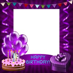 Happy Birthday Purple Transparent PNG Frame
