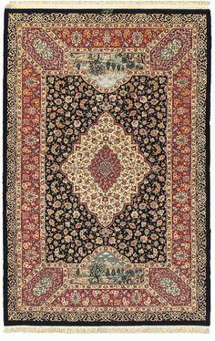Persian Qum Nezefat silk and wool rug, 1950, signed