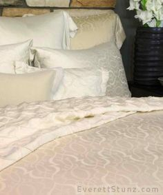 """Agadir"" by SDH. Recalling the coastal palaces of North African trade routes, this ornamental pattern is elegant in line and feeling. Luxuriously soft Legna bedding has true and lasting beauty. Now at #WestfieldUTC"