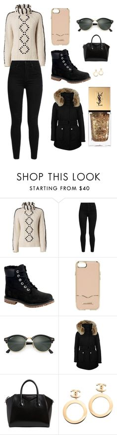 """""""Sans titre #2557"""" by merveille67120 ❤ liked on Polyvore featuring Exclusive for Intermix, Levi's, Timberland, Rebecca Minkoff, Ray-Ban, K100 Karrimor, Givenchy, Chanel and Yves Saint Laurent"""