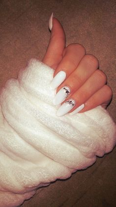 My white almond nails