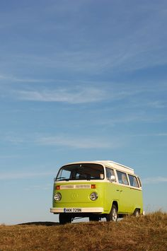 Taking a quick break from driving a lime green VW Camper van ~we're on route to the beach!