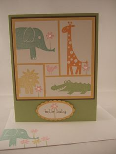 "Stampin Up ""Wild About You"" Handmade Zoo Animals Hello Baby Card 