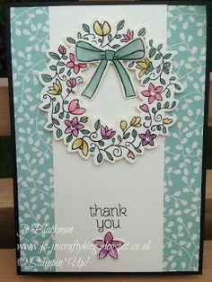 handmade thank-you card from Jo-Jo's Crafty Blog ... good layout for a springtime wreath ... luv the pastel coloring on the wreath ... Stampin' Up!