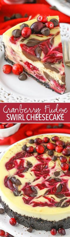 Cranberry Fudge Swirl Cheesecake - with cranberry and chocolate fudge swirled throughout! Perfect for the holidays!