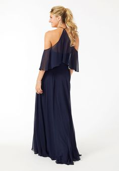 Halter Neck Cold Shoulder Bridesmaid Dress Something Blue Wedding, Satin Bridesmaid Dresses, Next Fashion, Halter Neck, Designer Wedding Dresses, Sleeve Styles, Cold Shoulder Dress, Chiffon, Navy Blue