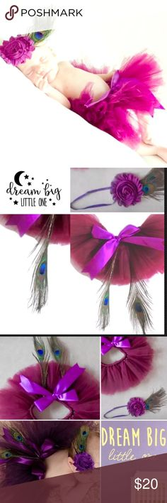 Newborn Tutu photo baby prop Gift set Peacock Girl Welcome to Dream BIG little Ones ~ a children's boutique by the sea 1 Baby Peacock Too-Too Cute Gift Set This photo Prop outfit includes a Tutu, Boutique Headband & 3 Peacock feathers! A CUSTOMER FAVORITE! soft and carefully crafted for a newborn baby to 3 months • gift set NEW &exactly as photographs show  Main Color is Plum purple • One Size ~ Crafted for Baby Girls Newborn-3 mon • Stretches gently, at the waistline & headband, in order…