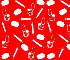 Nurse Theme in Red fabric by egnatz on Spoonflower - custom fabric Nurses Week Quotes, Nurse Appreciation Week, Medical Wallpaper, Nurse Humor, Red Fabric, Minnie, Room Themes, Creative Business, Custom Fabric
