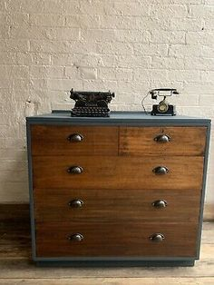 Vintage Painted Industrial Style Chest Of Drawers   | eBay