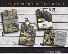 Custom Save The Dates - Digital File - Printable - Burlap - Chalkboard - Weddings - Vintage - Rustic - Pick your style
