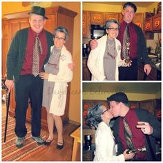 Halloween costume inspiration. Come see seven years of costumes (handmade, semi-handmade, and a few store bought) at Daydream Believers. www.daydreambelieversdesigns.com #Halloween #Handmade Quick and Easy DIY Couple Costumes Old Married Couple (Future Self/ Seniors)