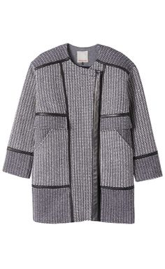 Tweed and Leather Coat .. Rebecca Taylor