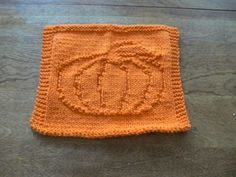 Hand Knit Orange Pumped Up Pumpkin Wash Cloth or Dish Cloth | hollyknittercreations - Knitting on ArtFire
