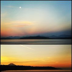 Good morning moon. Hello Mt. Rainier. Lovely to see you both out to play.  www.kennakphoto.com